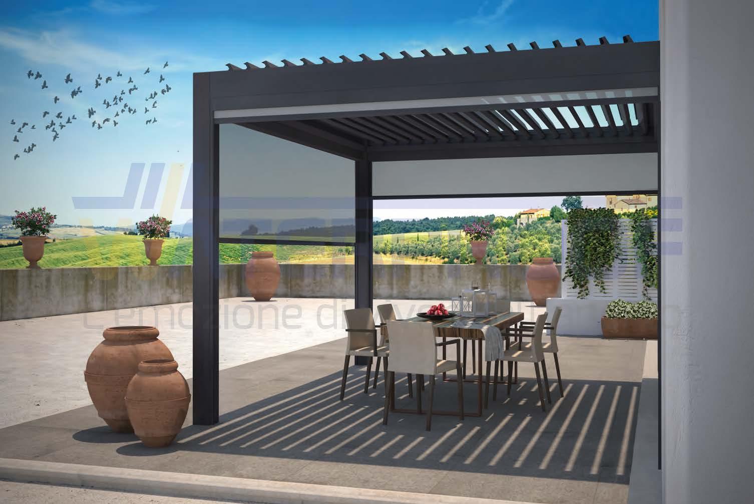 pergola bioclimatica da esterno con copertura