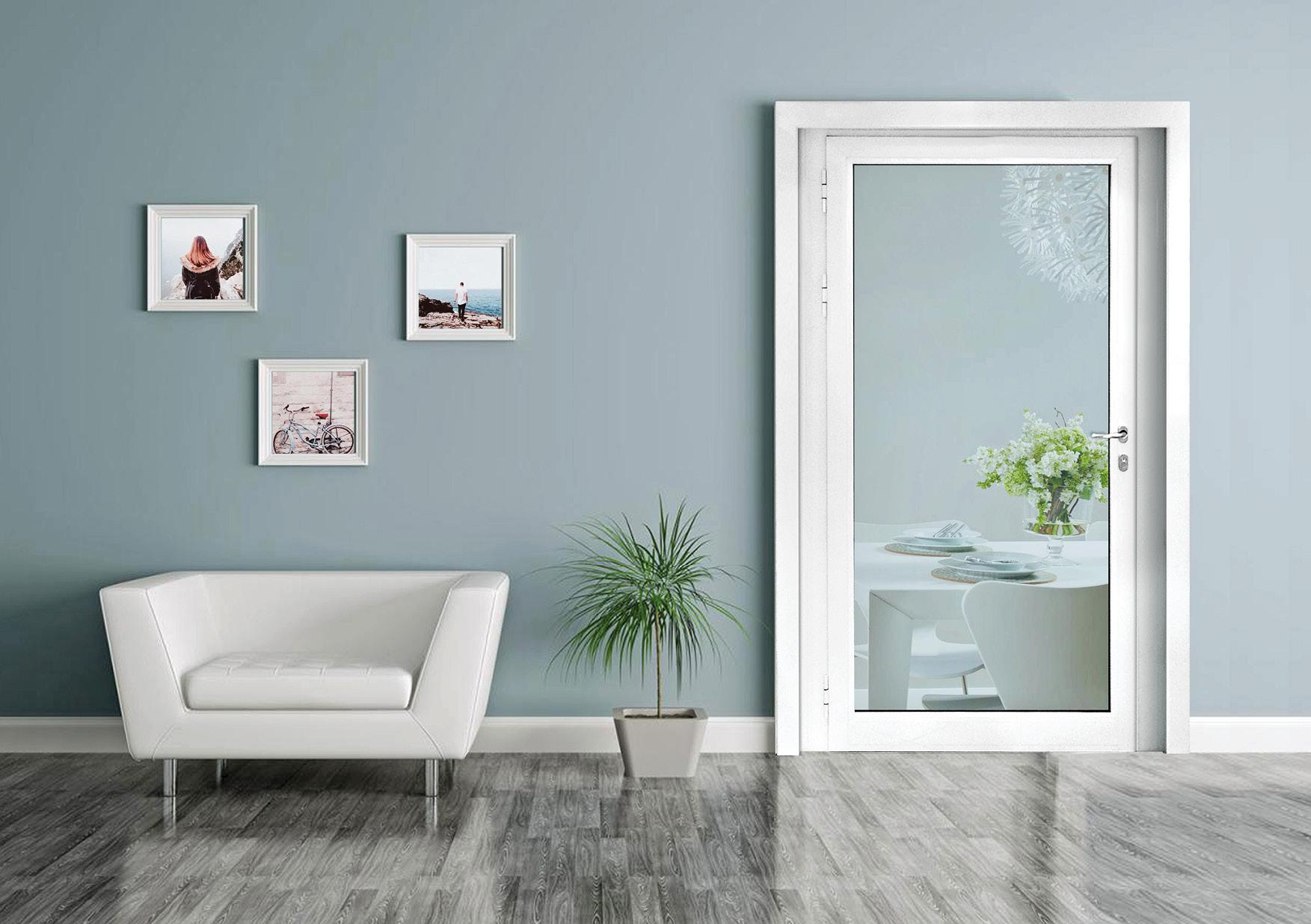 alluminio, porta interna bianca