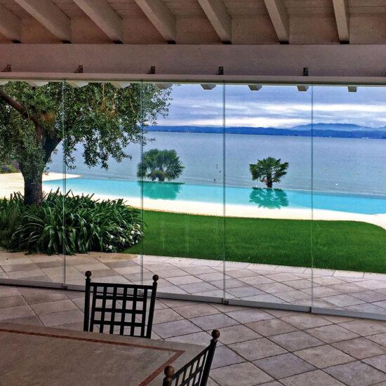 indoor sistema vetro per veranda vista lago